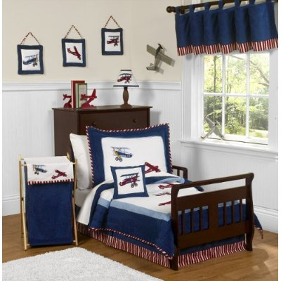 Vintage Aviator Airplane Toddler Bedding 5 Pieces set by Sweet Jojo Designs