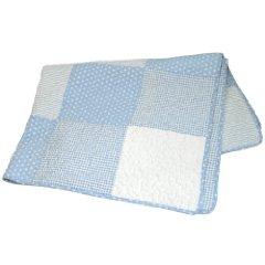 Reversible Pieced Crib Quilt  Blue and White Vintage Dot