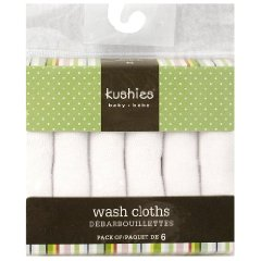 6 Pack Wash Cloth Set by Kushies