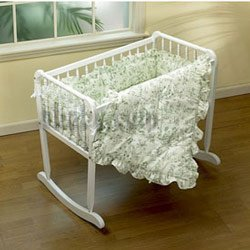 Cradle Bedding Toile Green