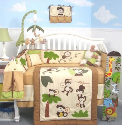 Curious Monkey Baby Crib Nursery Bedding Set with Diaper Bag, Changing Pad and a Bottle Case by SoHo Designs