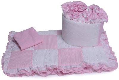 Gingham Cradle Bedding Set Pink by BabyDoll Bedding