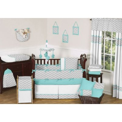 Gray and Turquoise Chevron Zig Zag Baby Crib Bedding Set Comes in 9 Pieces by Sweet Jojo Designs