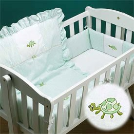Green Turtle Applique Cradle Bedding by Ababy