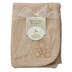 Organic Embroidered Receiving Blanket Mocha American Baby Company