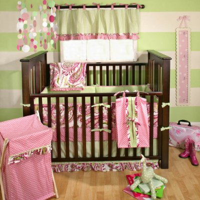 Paisley Splash Crib Bedding Set comes in 4 pieces Pink by My Baby Sam