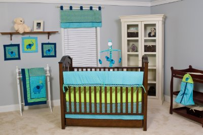 Zigzag Baby Crib Bedding Set Comes In 10 Pieces Teal Or Lime By Pam Grace Creations