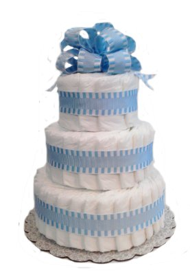 Classic Pastel Baby Shower Diaper Cake by Rubber Ducky