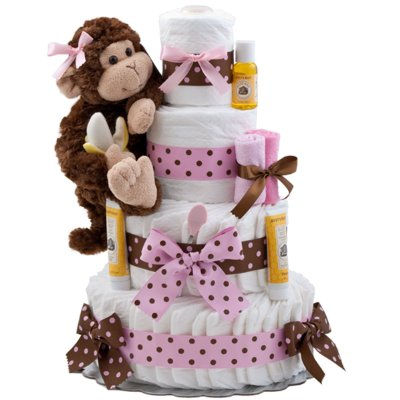 Diaper Cake Pink Monkey by Lil Baby Cakes