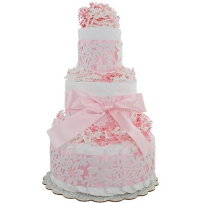 Pink Lace 3 Tier Diaper Cake by Lil' Baby Cakes
