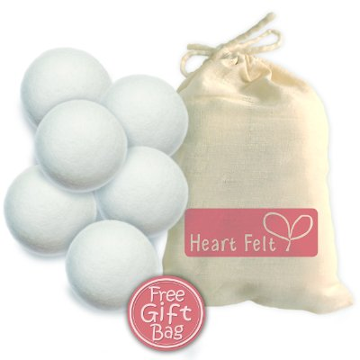 Six Wool Dryer Balls by Heart Felt