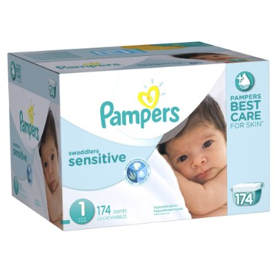 Swaddlers Sensitive Diapers Economy Pack Plus by Pampers