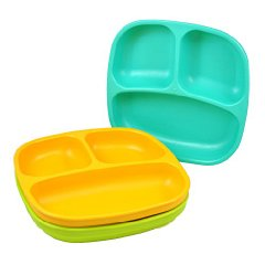 Divided Plates 'Aqua - Green - Orange' by Re-Play
