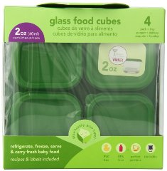 Glass Baby Food Storage Cubes Green Sprouts