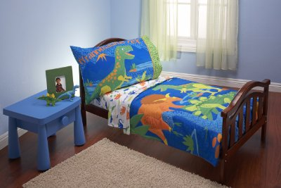 4 Piece Toddler Bedding Set Dinosaurs by Everything Kids