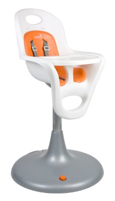 Flair Pedestal Highchair 'White - Orange' by Boon
