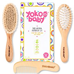 Wooden Baby Hair Brush Set by Yokoo Baby