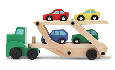 Car Carrier Truck Cars Wooden Toy Set