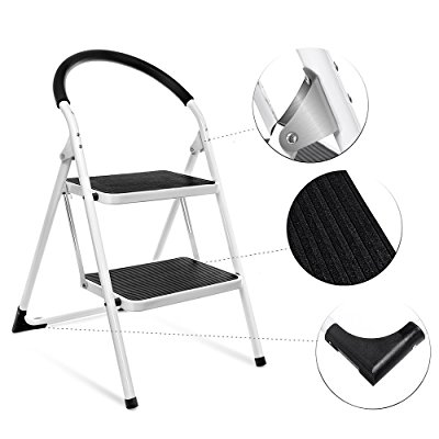 Folding Step Stool Steel Stepladders by Delxo