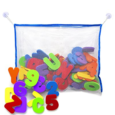 Bath Letters and Numbers with Bath Toy Organizer