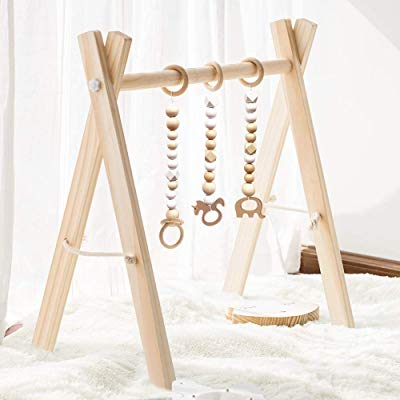 Wood Baby Gym with Baby Teething Toys