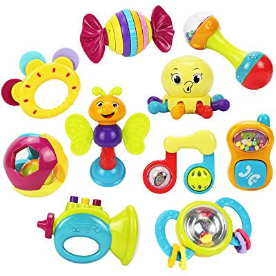 iPlay, iLearn 10pcs Baby Rattles Teether, Shaker, Grab and Spin Rattle, Musical Toy Set